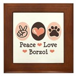 Peace Love Borzoi Framed Tile