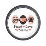 Peace Love Borzoi Wall Clock