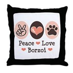 Peace Love Borzoi Throw Pillow