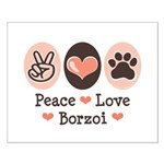 Peace Love Borzoi Small Poster