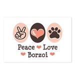 Peace Love Borzoi Postcards (Package of 8)