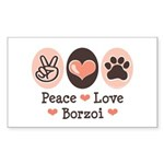 Peace Love Borzoi Rectangle Sticker
