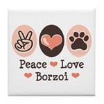 Peace Love Borzoi Tile Coaster