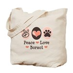 Peace Love Borzoi Tote Bag