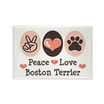 Peace Love Boston Terrier Rectangle Magnet (100 pa