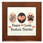 Peace Love Boston Terrier Framed Tile