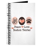 Peace Love Boston Terrier Journal
