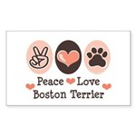 Peace Love Boston Terrier Rectangle Sticker