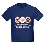 Peace Love Boston Terrier Kids Dark T-Shirt