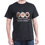 Peace Love Boston Terrier Dark T-Shirt