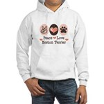 Peace Love Boston Terrier Hooded Sweatshirt