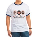 Peace Love Boston Terrier Ringer T