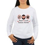 Peace Love Boston Terrier Women's Long Sleeve T-Sh