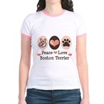 Peace Love Boston Terrier Jr. Ringer T-Shirt