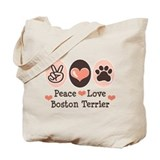 Peace Love Boston Terrier Tote Bag