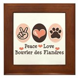 Peace Love Bouvier des Flandres Framed Tile