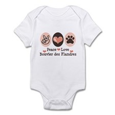 Peace Love Bouvier des Flandres Infant Bodysuit