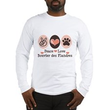 Peace Love Bouvier des Flandres Long Sleeve T-Shir
