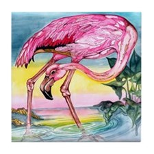 Pink Flamingo Tile Coaster