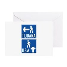Pedestrian Crossing Tijuana-USA, US Greeting Cards