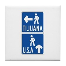 Pedestrian Crossing Tijuana-USA, US Tile Coaster