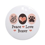 Peace Love Boxer Ornament (Round)