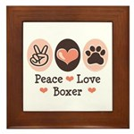 Peace Love Boxer Framed Tile