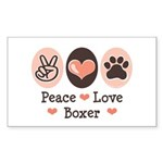 Peace Love Boxer Rectangle Sticker