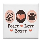 Peace Love Boxer Tile Coaster