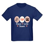 Peace Love Boxer Kids Dark T-Shirt