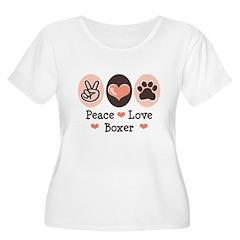 Peace Love Boxer Women's Plus Size Scoop Neck T-Sh