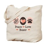 Peace Love Boxer Tote Bag