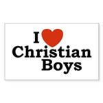 I loves Christian Boys Rectangle Sticker