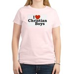 I loves Christian Boys Women's Pink T-Shirt