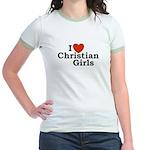 I love Christian Girls Jr. Ringer T-Shirt