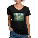 Bridge / English Setter Women's V-Neck Dark T-Shir