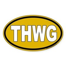 THWG Gold Background Oval Decal