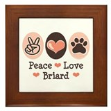 Peace Love Briard Framed Tile