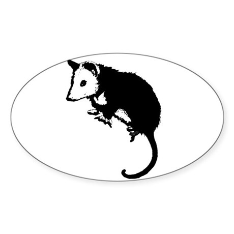 Possum Silhouette Oval Sticker