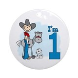 Stick Cowboy First Birthday Ornament (Round)