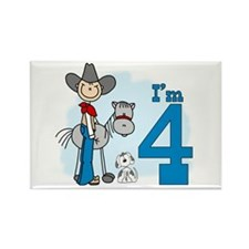 Stick Cowboy 4th Birthday Rectangle Magnet (100 pa
