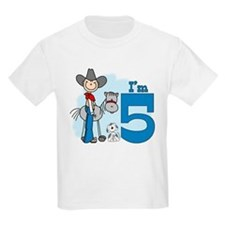 Stick Cowboy 5th Birthday T-Shirt