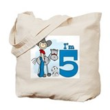 Stick Cowboy 5th Birthday Tote Bag