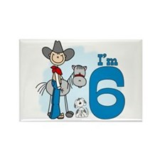 Stick Cowboy 6th Birthday Rectangle Magnet (10 pac