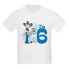 Stick Cowboy 6th Birthday T-Shirt