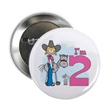 "Stick Cowgirl 2nd Birthday 2.25"" Button"