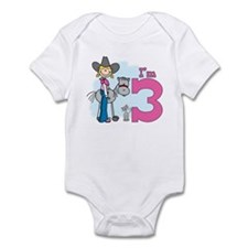 Stick Cowgirl 3rd Birthday Infant Bodysuit