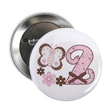 "Pink Butterfly 2nd Birthday 2.25"" Button (100 pack"