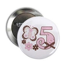 "Pink Butterfly 5th Birthday 2.25"" Button (100 pack"