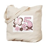 Pink Butterfly 5th Birthday Tote Bag